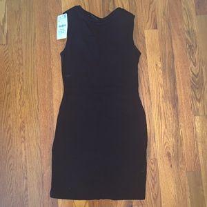 Zara Black Mini Dress Sheer V in Back Size: S NWT